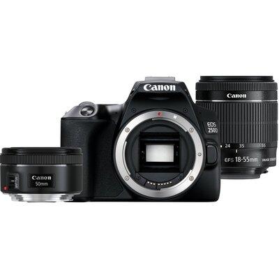 Aparat CANON EOS 250D + Obiektyw EF-S 18-55 mm f/4-5.6 IS STM + Obiektyw EF 50 mm f/1.8 STM