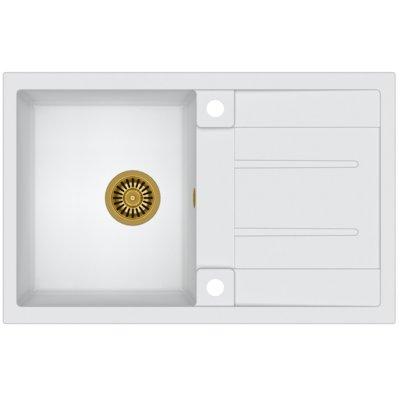 Zlewozmywak QUADRON Morgan 111 GraniteQ HB8203U1-G1 Złoty/Biały metalik Electro 238305