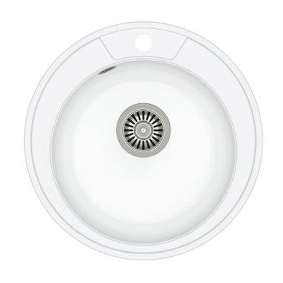 Zlewozmywak QUADRON Danny 210 GraniteQ HB8301U1-BS Stalowy/Biały metalik Electro 289091