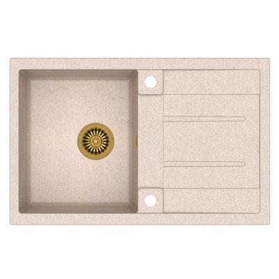Zlewozmywak QUADRON Morgan 111 GraniteQ HB8203U3-G1 Złoty/Beżowy metalik Electro 185085