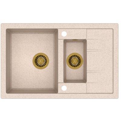 Zlewozmywak QUADRON Morgan 156 HB8224U3-G1 Złoty/Beżowy metalik