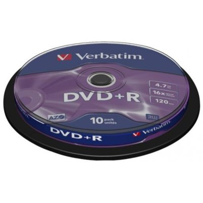 Płyta DVD+R 4.7GB VERBATIM 16X  CAKE 10 Electro 002978